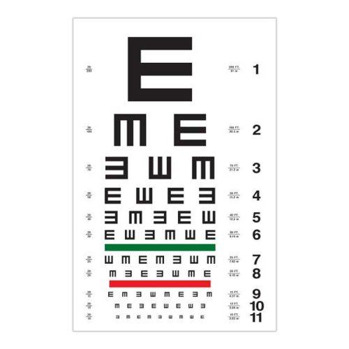 Tableau – Echelle d'acuité visuelle E de Snellen
